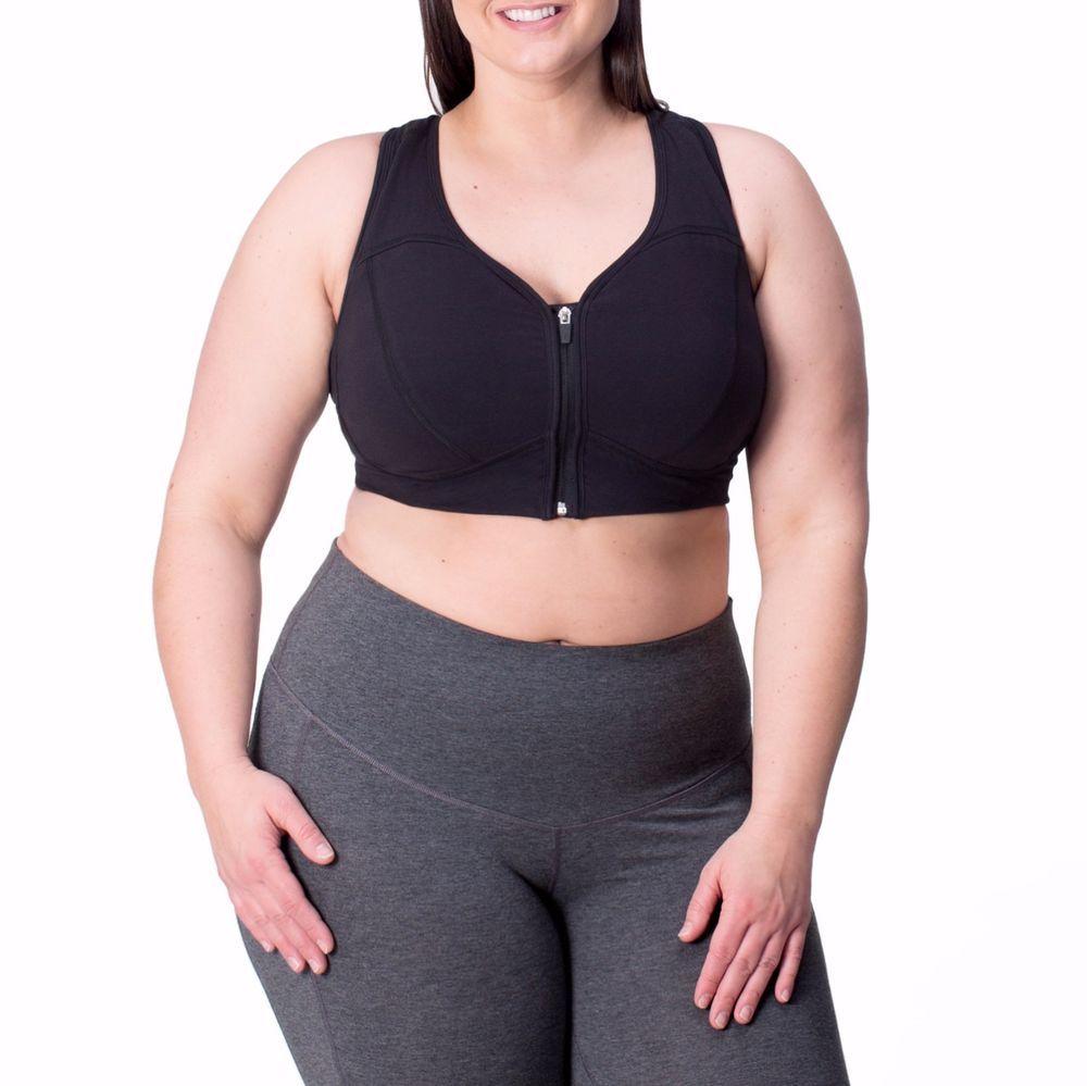 6327149312 Rainbeau Active Plus Size Lucy Sports Bra Size 18 20 Black Zip Front Curves  New  RainbeauCurves  SportsBrasBraTops
