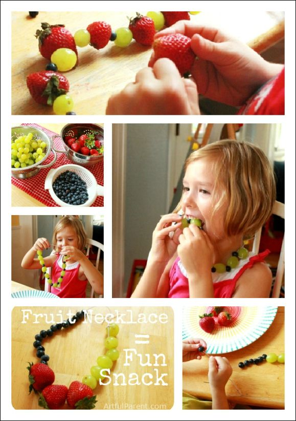 Fruit necklaces = a fun and healthy snack for the kids