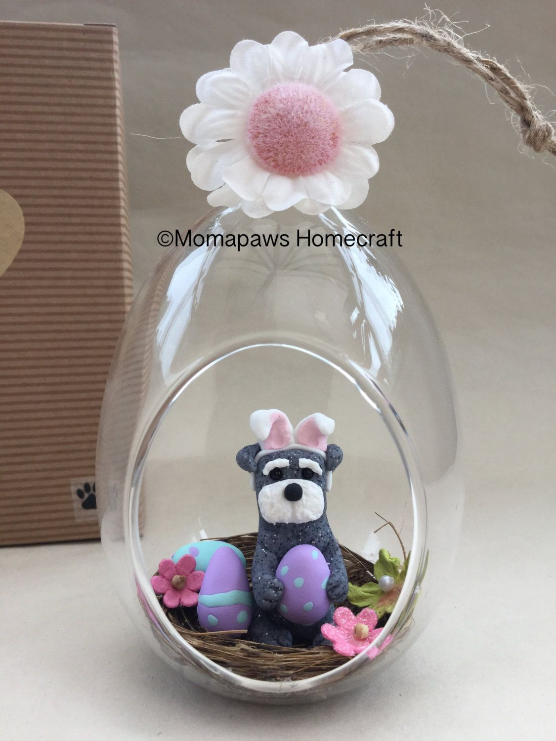 Easter Dog sitting in a nest of eggs little Schnauzer Doggy Bunny inside glass bauble Unique Handmade Ornament unusual OOAK different  gift by MomapawsHomecraft on Etsy