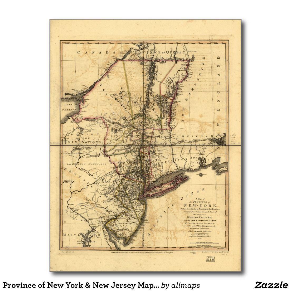 Postal Provincia del mapa de Nueva York y de New Jersey