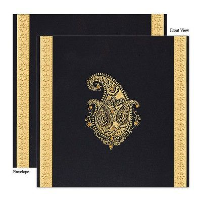 Hindu Wedding Cards, Black/Grey, Matt paper, Silk Screen Printing, Embossing, Paisely