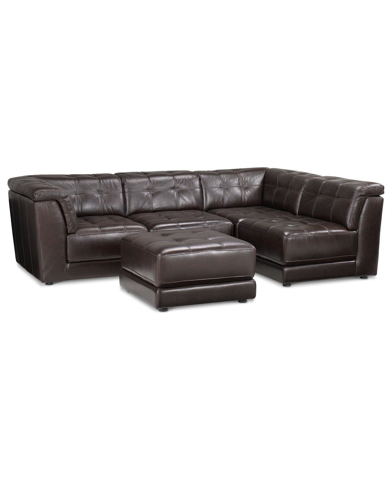 Stacey Leather Sectional Sofa 5 Piece Modular Pit 2 Armless Chairs 2 Square Corners And Ottoman Leather Sectional Sofas Sectional Sofa Leather Modular Sofa