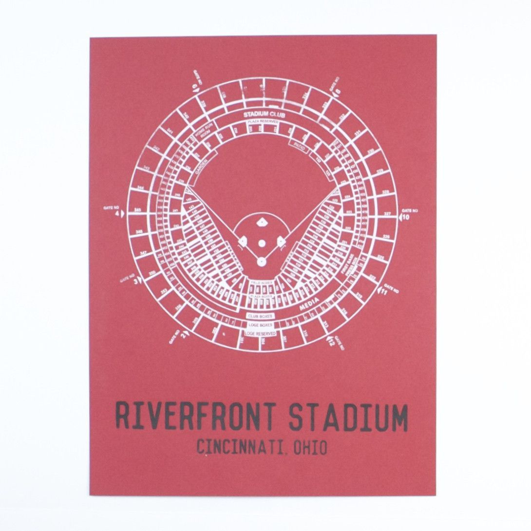 Riverfront Stadium Seating Chart Print Cincinnati Riverfront Prints