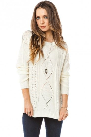 Abigail Cableknit Sweater in Ivory: love it