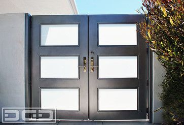 Modern Architectural Entry Gate With Chrome Handle Steel Framed Frosted Glass Modern Entry Doors With Glass Entry Gates Architecture
