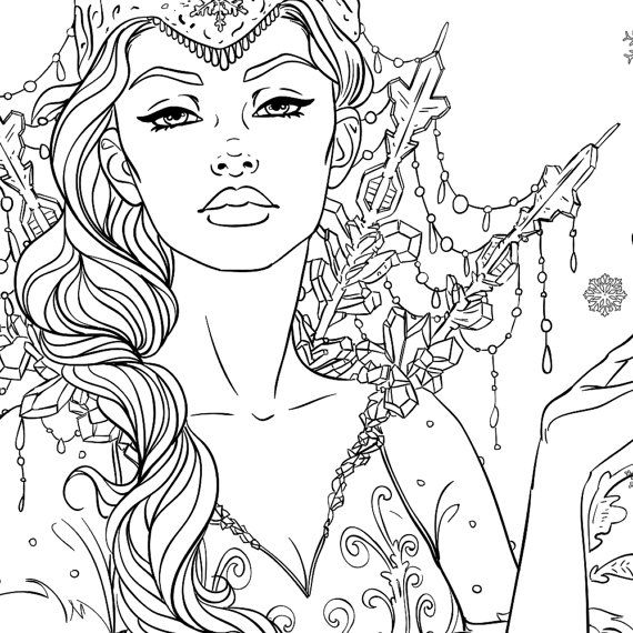 Snow Queen Adult Coloring Page Fantasy Line Art Adult
