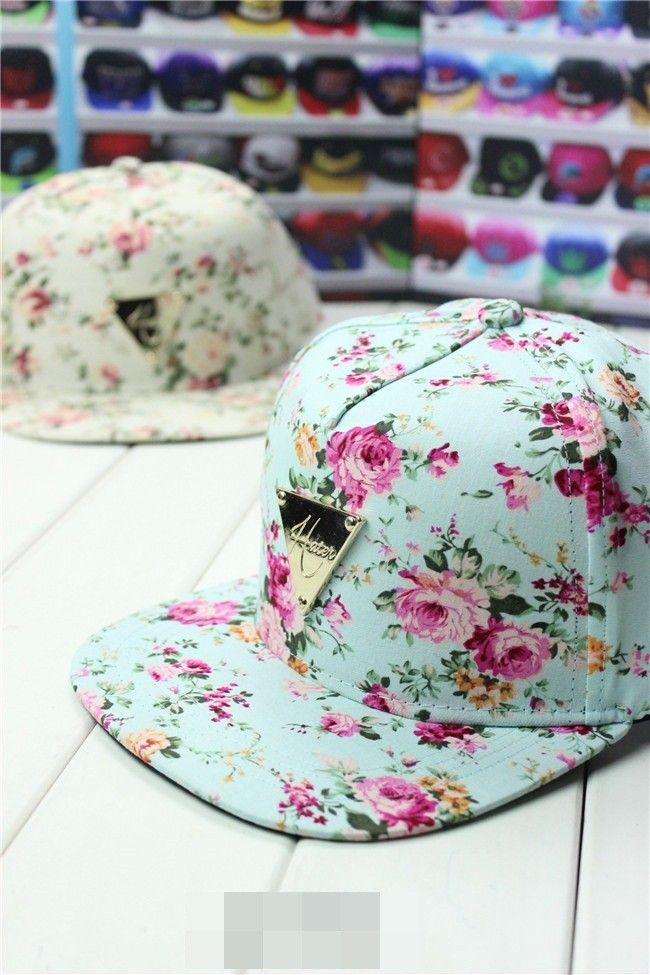 c09f89b7ee387 2014 spring summer H Series Colorful Floral flat triangle labeled hip-hop  baseball cap hater snapback for women men.