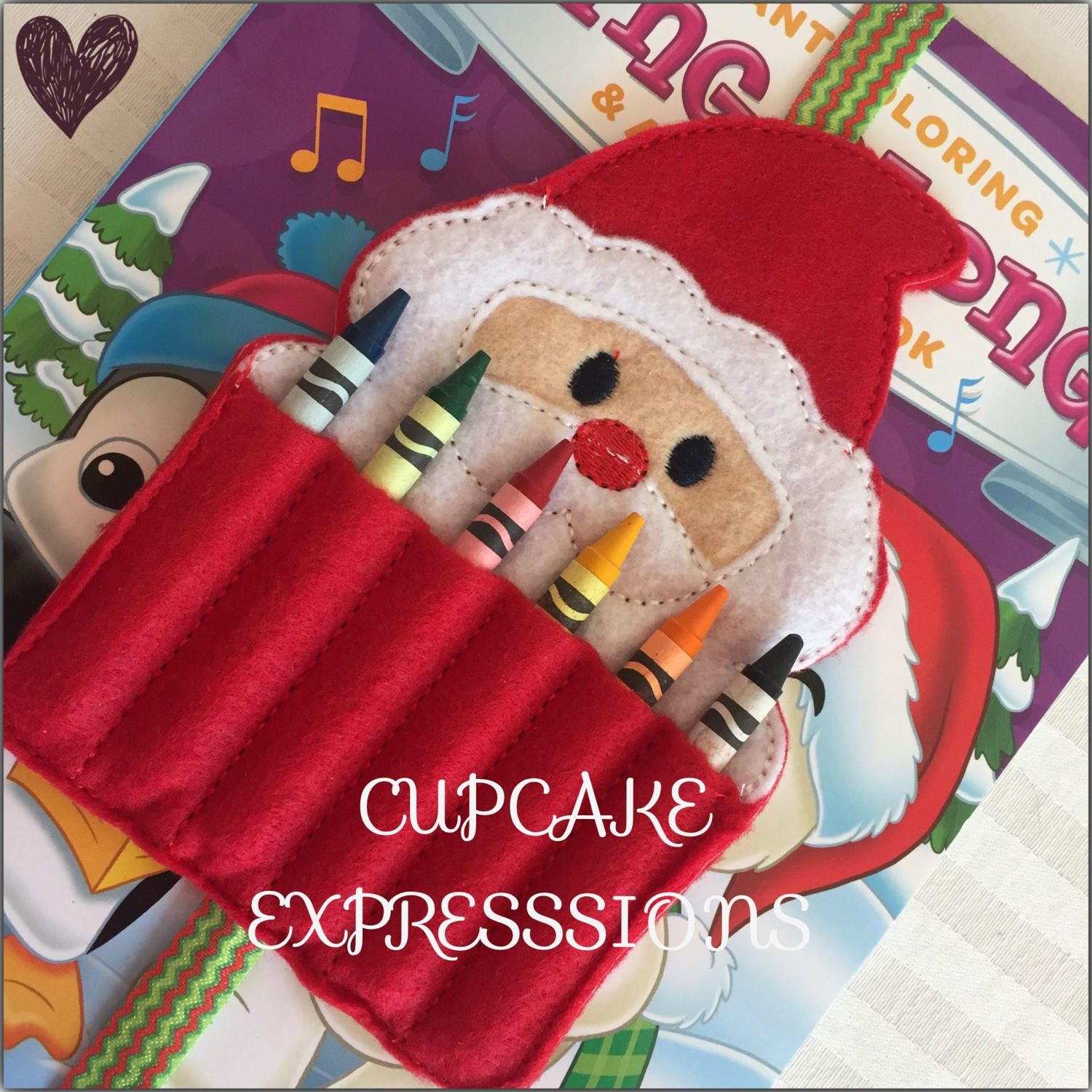 homemade coloring book crayon holder santa clause quiet time play toy christmas holiday present - Coloring Book And Crayon Holder