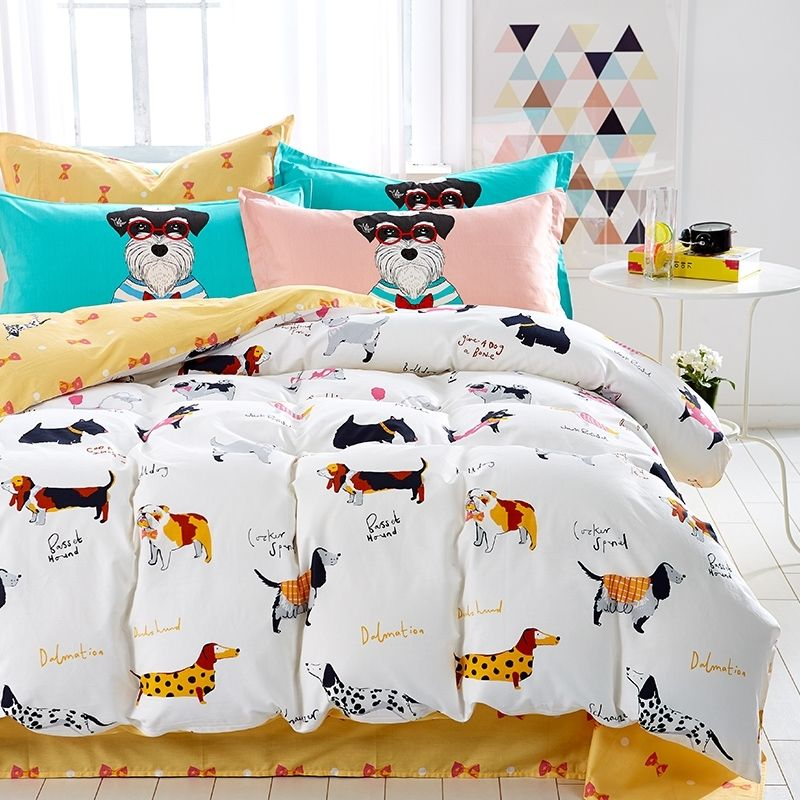 Kids Rust Orange Black And White Farm Animal Dog Print Funny Style Reversible 100 Cotton Twin Full Size Be Puppy Bedroom Dog Print Bedding Tween Girl Bedroom