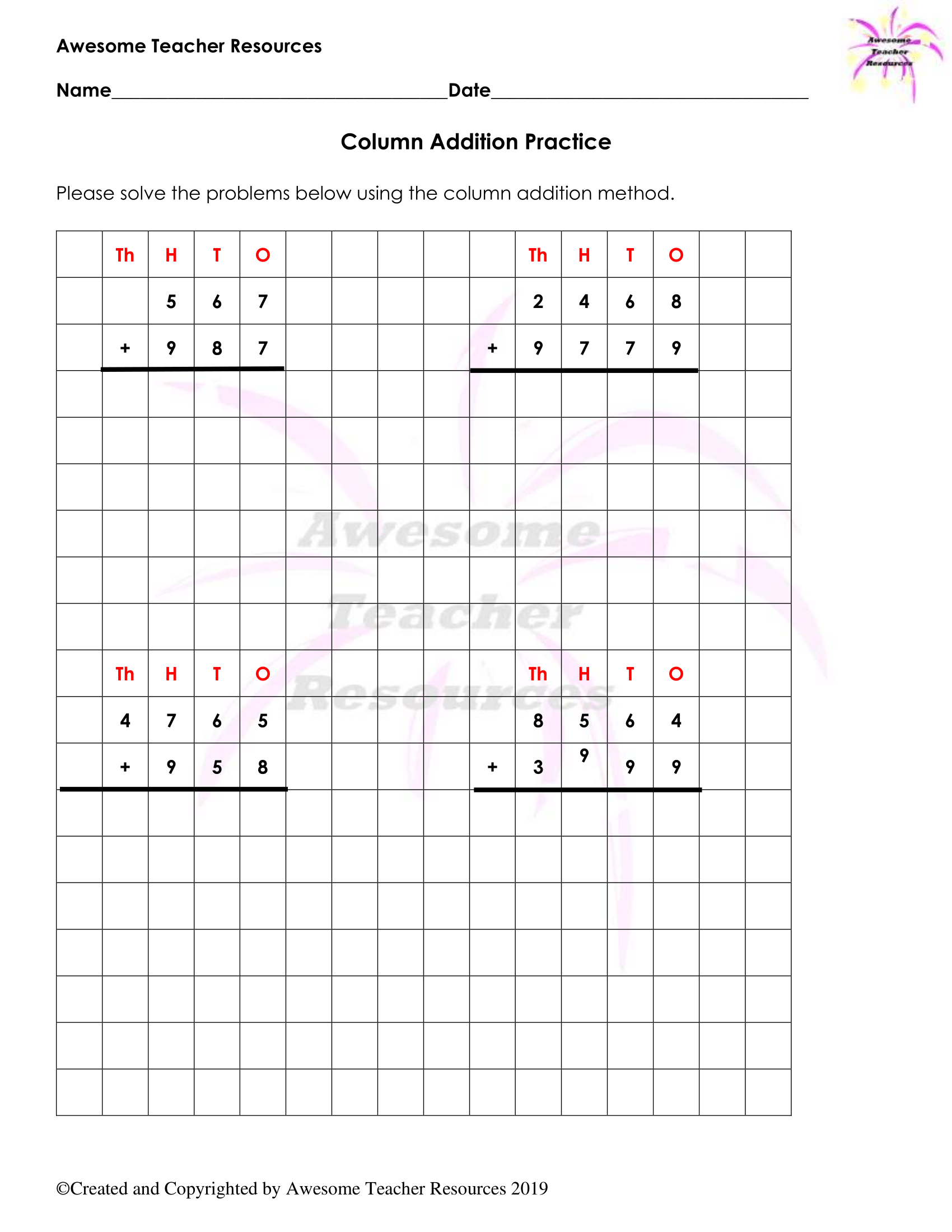 Column Addition and Partial Sums Worksheets   Column addition [ 2200 x 1700 Pixel ]