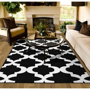 Mainstays Quatrefoil Black White 45 X66 Geometric Indoor Area Rug Walmart Com Living Room Area Rugs Rugs In Living Room Home Decor