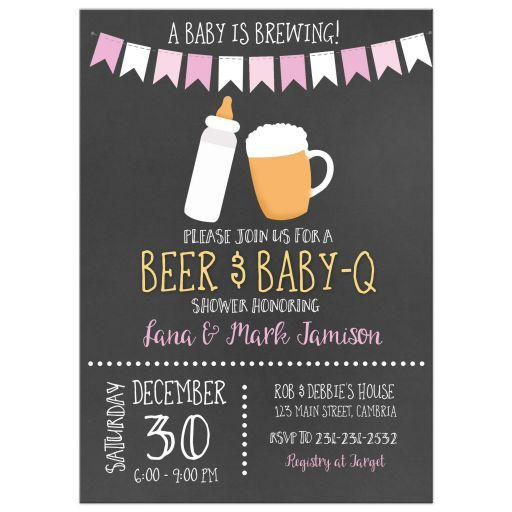 Baby Is Brewing BBQ Baby Q Co Ed Chalkboard Baby Shower Invitations / Girl