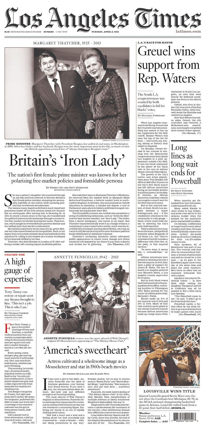 Los Angeles Times Published In Los Angeles California Usa Front Page News Newseum California Usa