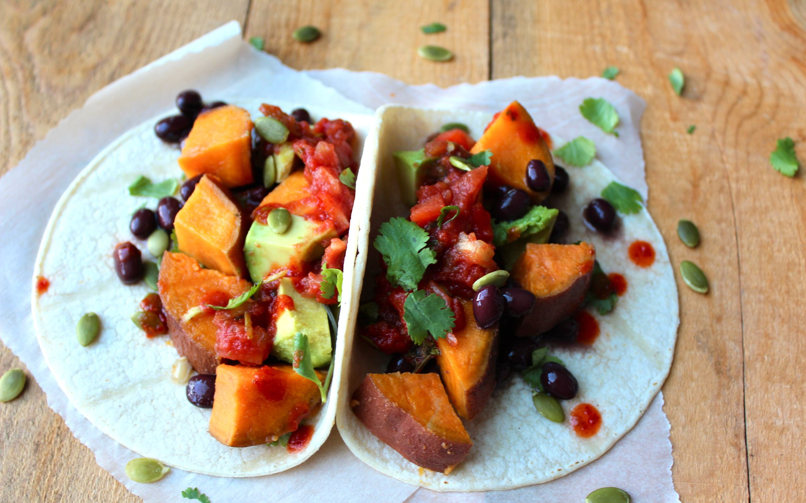 yam & black bean tacos.