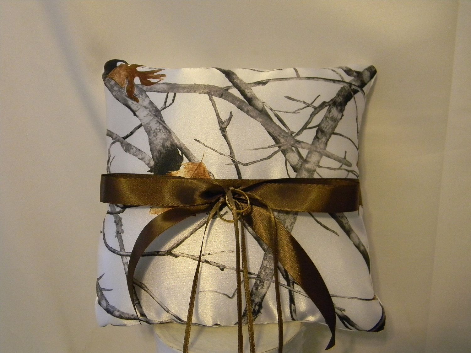 Wedding Ring Bearer Pillow custom made camo shown in White snow ...