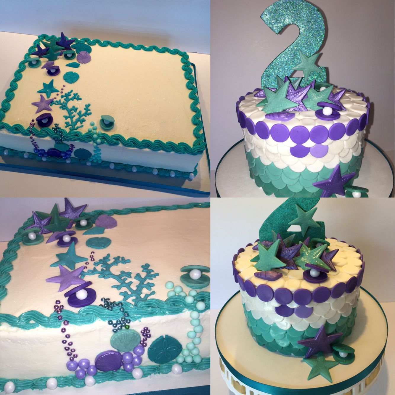 Under The Sea Smash Cake And Sheet Cake Mermaid Birthday Cakes