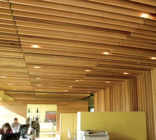 Wood Grid Panel For Suspended Ceiling Linear Grid Hunter Douglas Wood Slat Ceiling Wood Ceilings Suspended Ceiling