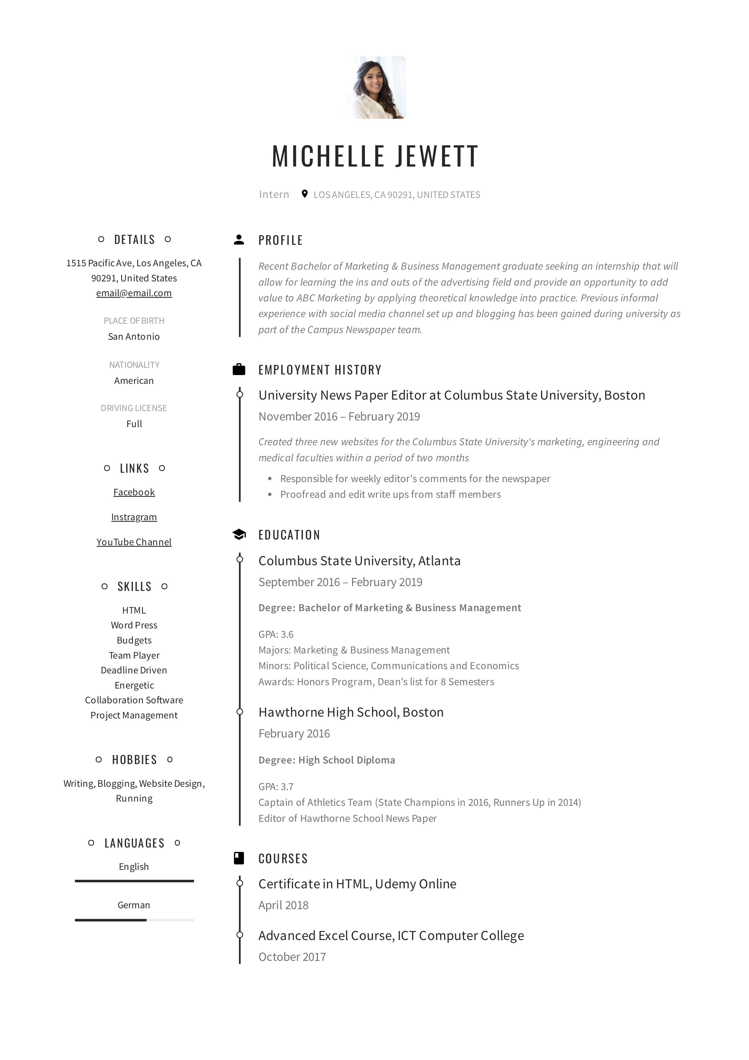 Intern Resume Example Medical Resume Student Resume Template Medical Coding