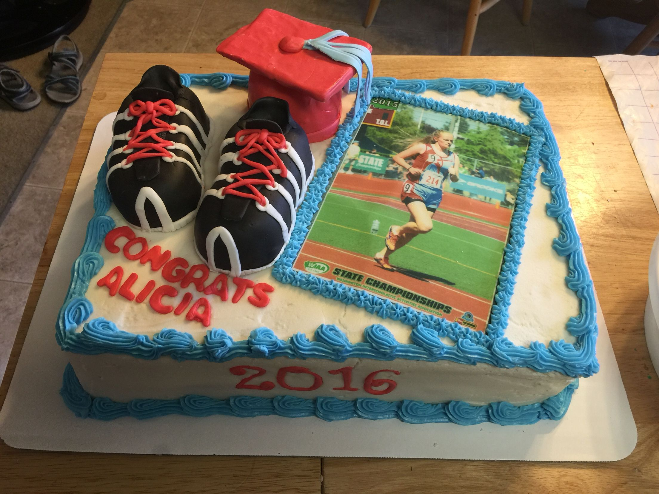 Graduation Cake Cross Country Track Shoes And Hat