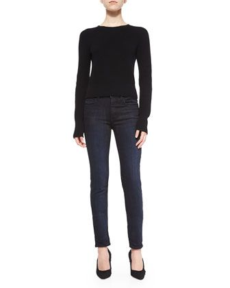 Cashmere-Wool+Cropped+Knit+Sweater+&+Dirty+Indigo-Wash+Skinny-Leg+Jeans+by+Helmut+Lang+at+Bergdorf+Goodman.