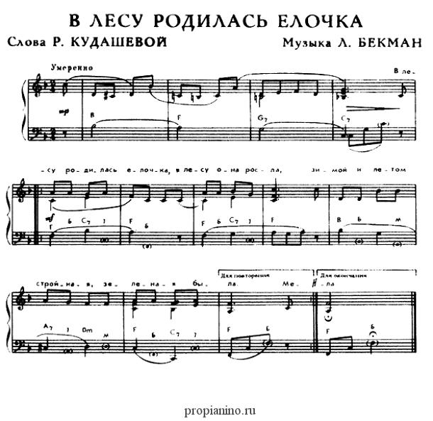 V Lesu Rodilas Elochka Noty Muzykalnyj Klass Noty Fortepiano