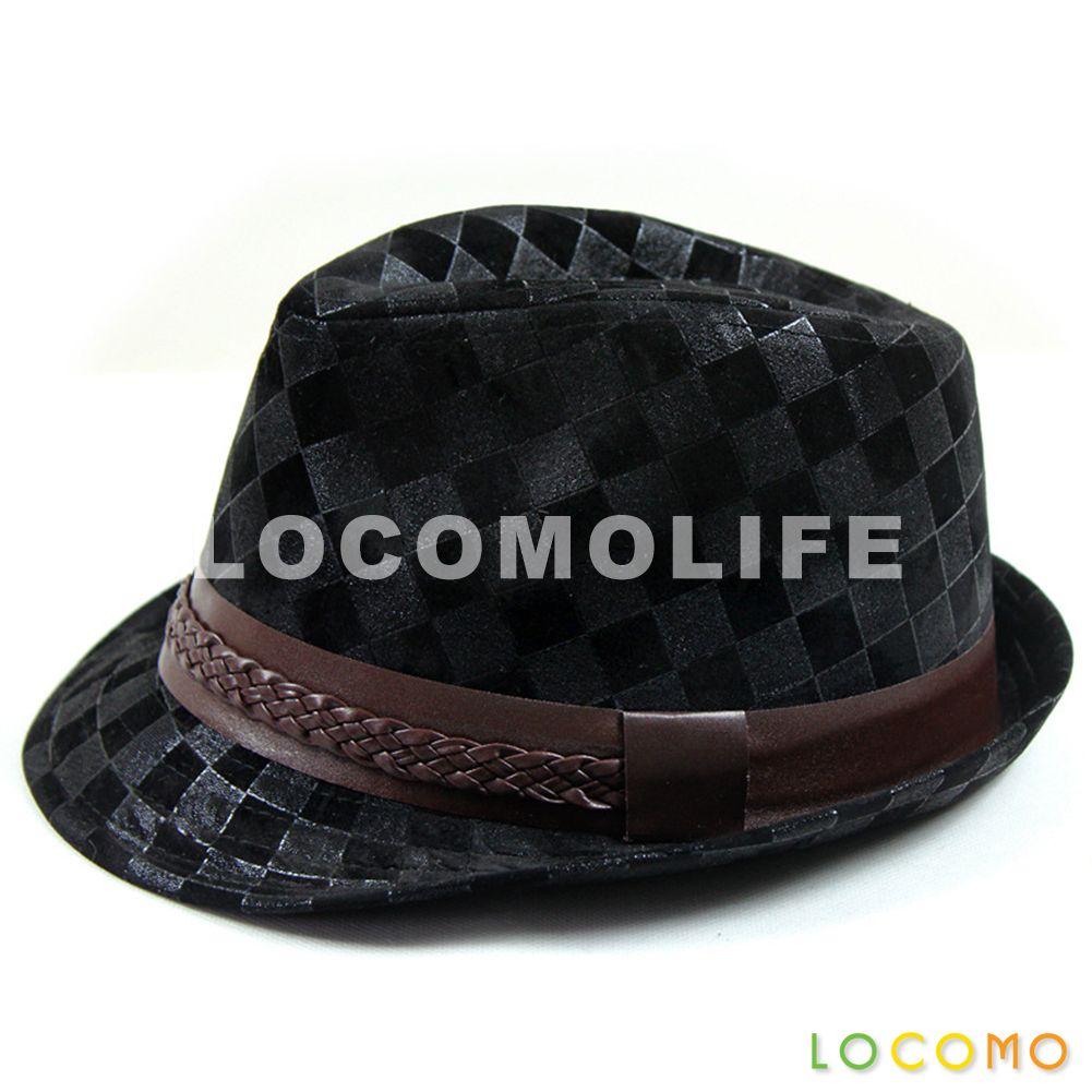 12283aaabf7 Checker Brushed PU Leather Fedora Short Upturn Brim Hat Black ...