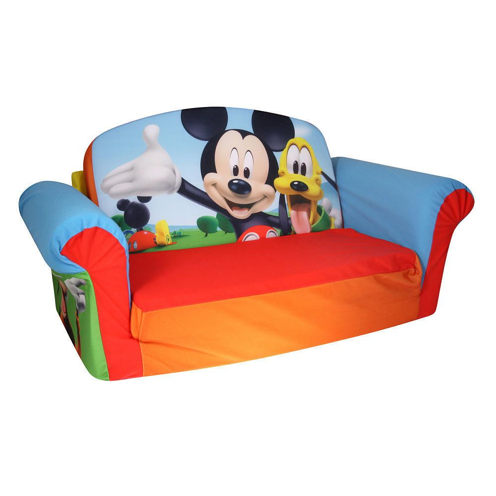 sofa couch for toddler pull out sectional new mickey mouse kids marshmallow flip open sleeper nap time spinmaster