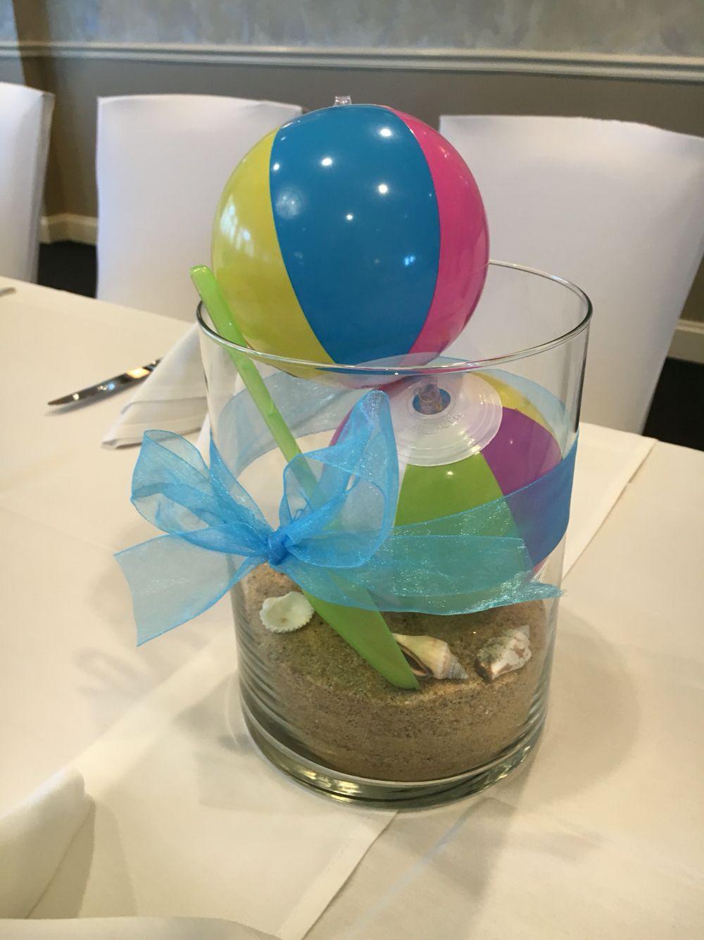 Simple Beach Theme Centerpiece Mini Beach Balls From Hobby Lobby