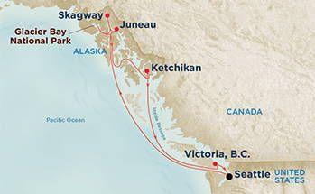 Princess Cruises Alaskan cruise roundtrip from Seattle visiting