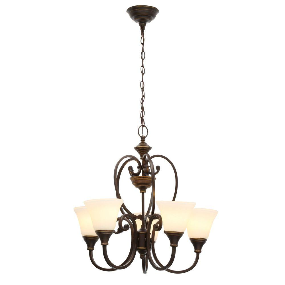Hampton Bay Somerset 5 Light Bronze Chandelier With Bell Shaped Frosted Glass Shades Gex8115a 2 The Home Depot Bronze Chandelier Glass Shades Chandelier