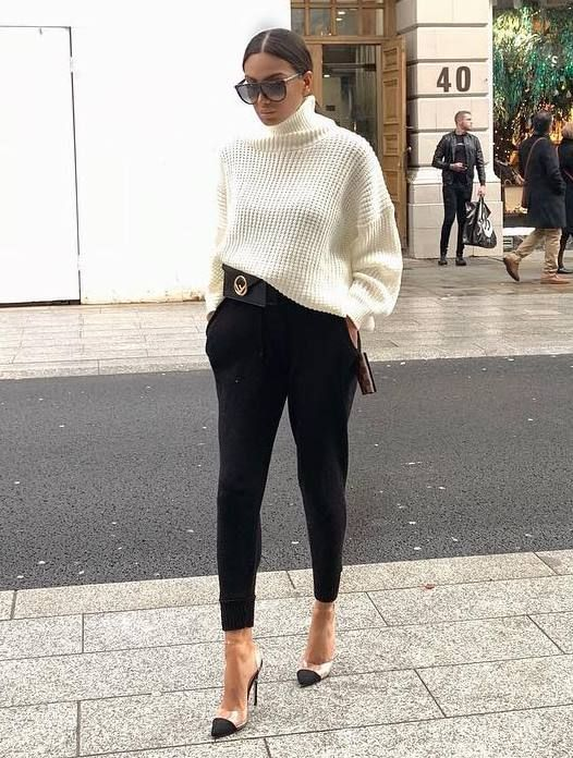 + how + man + a + white + sweater + style +: + waist + bag +++ black + pant +++ heels