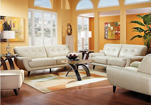 Picture Of Cindy Crawford Home Midtown East Pearl Leather 5 Pc Living Room  From Leather Living Part 49