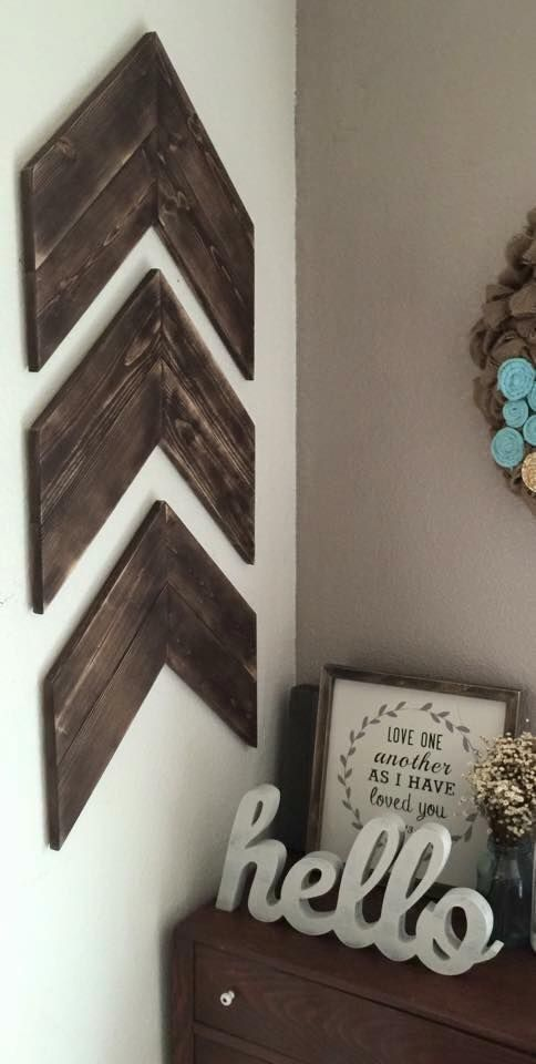 Chevron Wood Arrows Set Of 3 Wood Arrows Farmhouse Style
