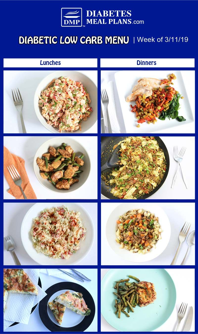 This Weeks Low Carb Diabetic Meal Plan Features A Few Easy