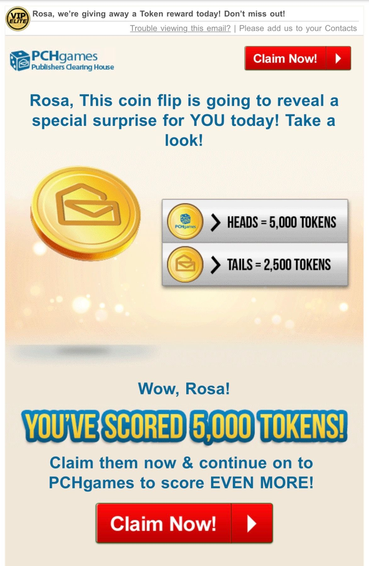 PCH GAMES I RRojas Claim My 5,000 Tokens & my Winning Prizes