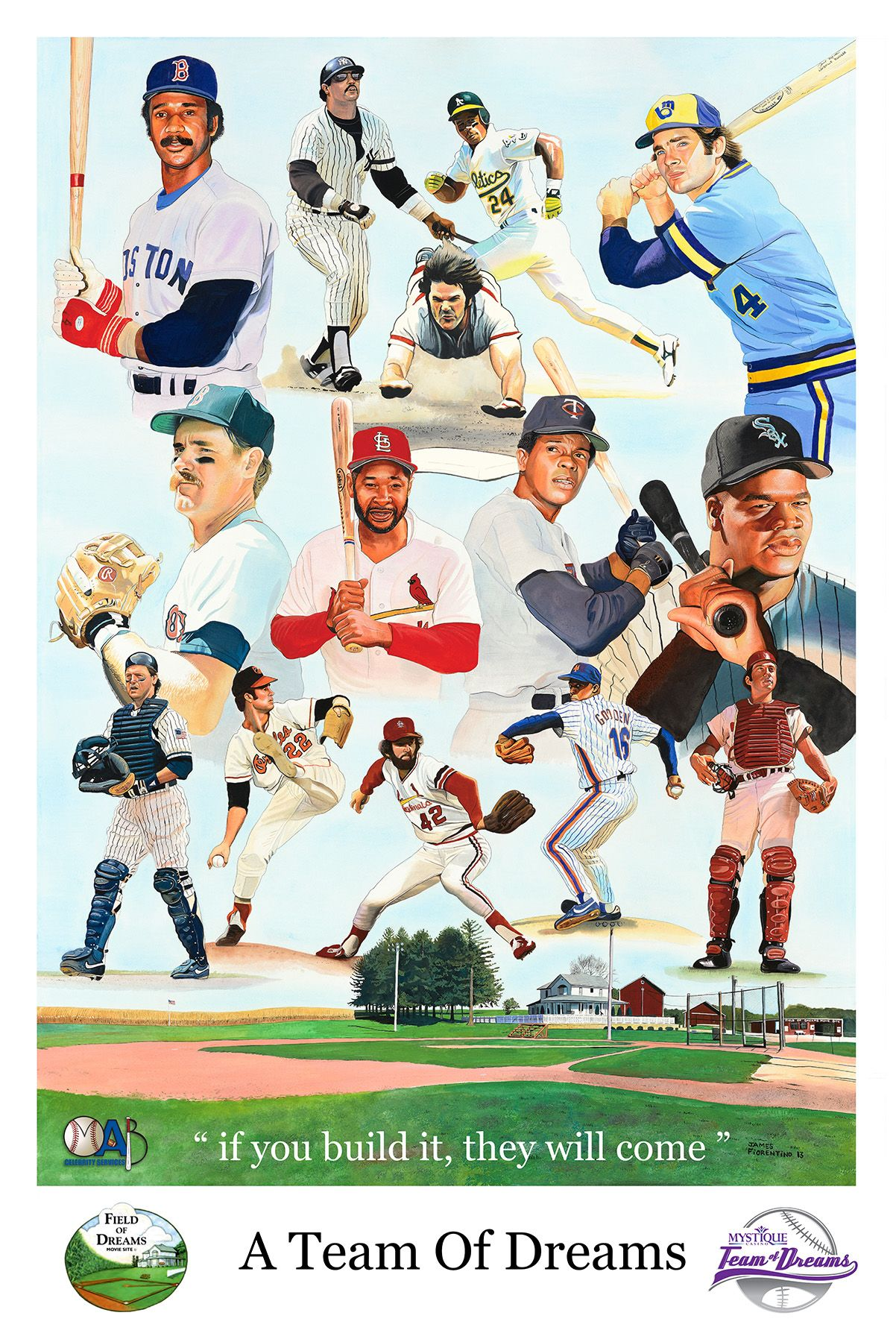 """""""A Team of Dreams"""" Original created for charity softball game of baseball hall of famers and all stars at the actual Field of Dreams movie site in Iowa. Limited edition signed giclees available. MAB Celebrity"""