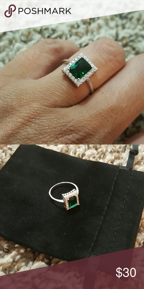 Stunning .925 Sterling Silver Ring .925 Sterling Silver Emerald Cutting Violet Green Spinal Gemstone Ring Jewelry Rings