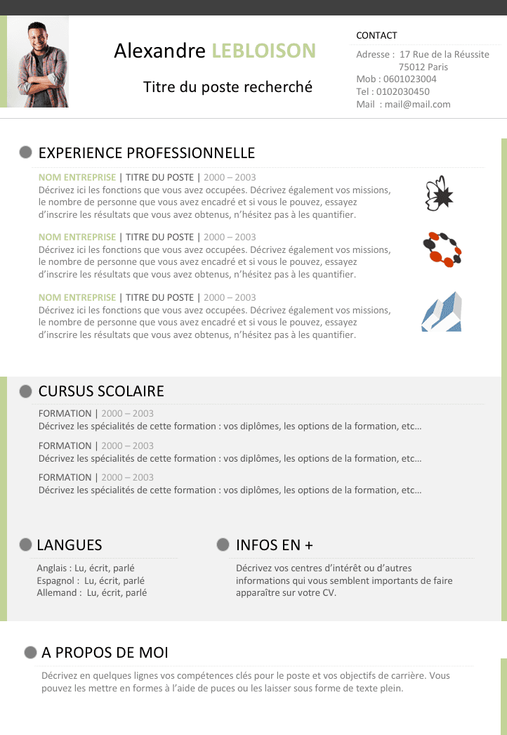 modeles cv libre office writer