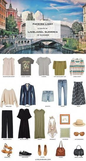 Do you need some ideas with what to pack for Ljubljana, Slovenia in the summer time? This may be the post for you. A packing list for Slovenia with outfit ideas that should be able to inspire you. What to pack for Ljubljana | Slovenia Packing List #worldtravel #visitslovenia #travelljubljana #travelslovenia #summervacation #livelovesara #carryononly #packinglight Packing Light | Travel Light | Travel Wardrobe | Travel Capsule | Capsule | Pack for vacation  #VacationMode #travelwardrobesummer