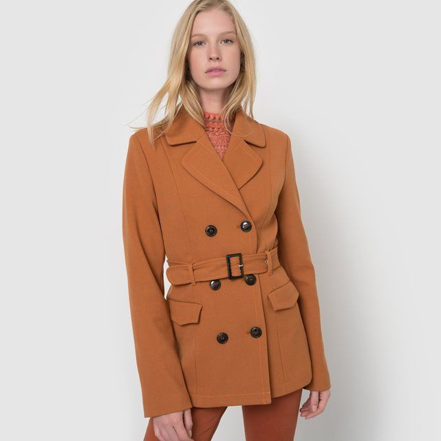 Long belted jacket in a 70s style. Tailored collar. Double-breasted. Patch pockets with flap. Removable buckle belt and belt loops. Slit at the back.Fabric content & detailsFabric 64% polyester, 33% viscose, 3% elastaneLining 100% polyesterLength 70cmBrand ATELIER R Care adviceMachine washable at 30°C with similar coloursWash and iron inside outIron at low temperature