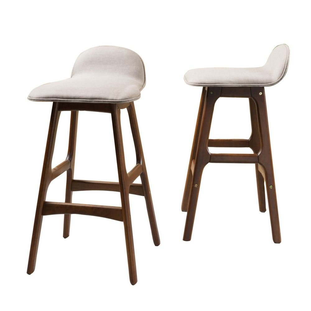 Set Of 2 Anatoli Bar Chair Dark Beige Christopher Knight Home Bar Chairs Chairs For Rent Bar Stools