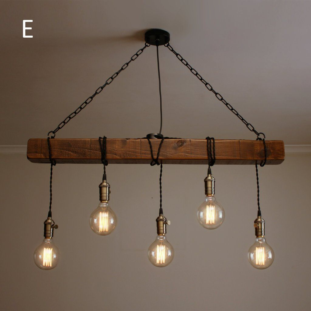 Handmade Rustic Wooden Chandelier - Wood Beam Industrial Pendant Lamp - #chandelier #handmade #industrial #pendant #rustic #wooden - #IndustrialFurniture