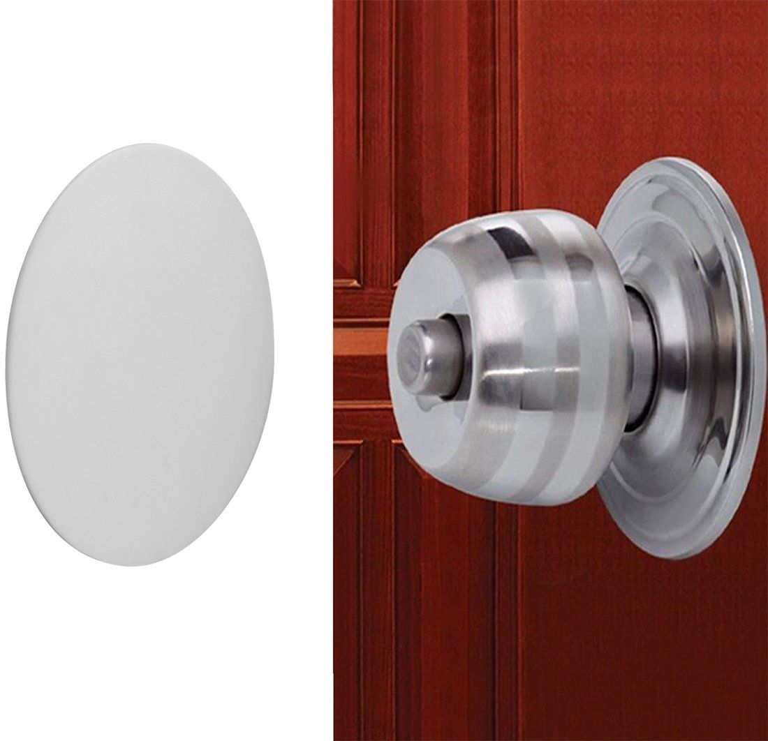 Door Knob Wall Shield White Round Soft Rubber Wall Protector Self ...
