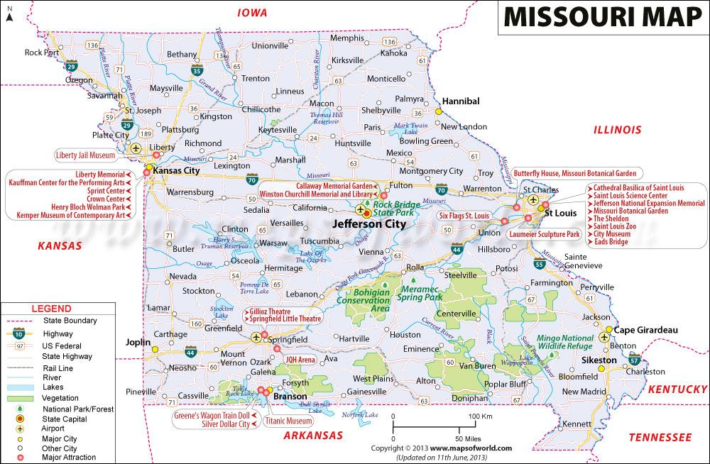 Missouri Map Showing The Major Travel Attractions Including Cities