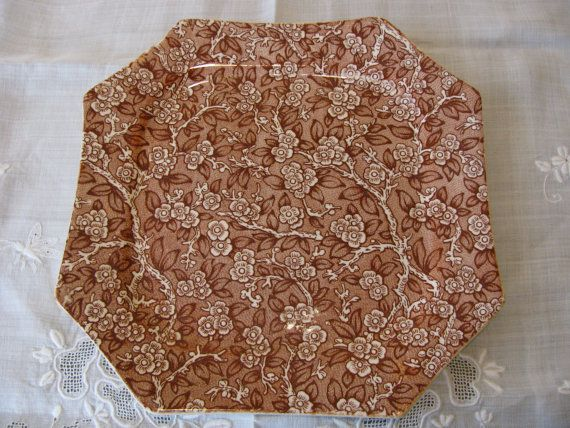 Brown Transferware Plate for Biscuit, Cookie or Serving with Cherry Blossom Pattern, Vintage, Antique - more matching pieces on Etsy