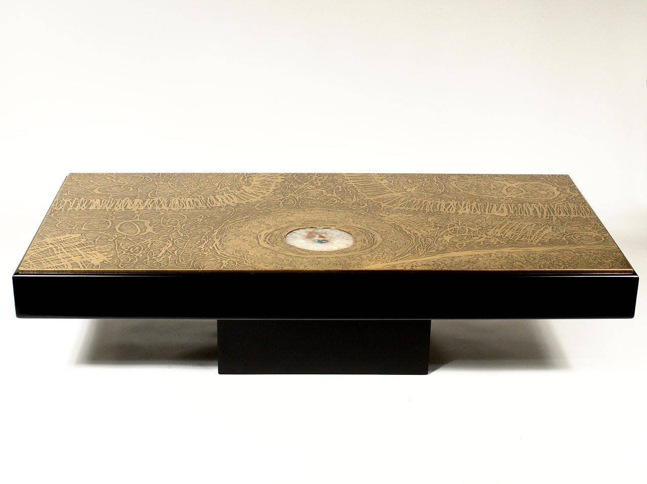 Coffee table etched brass by romain at 1stdibs coffee