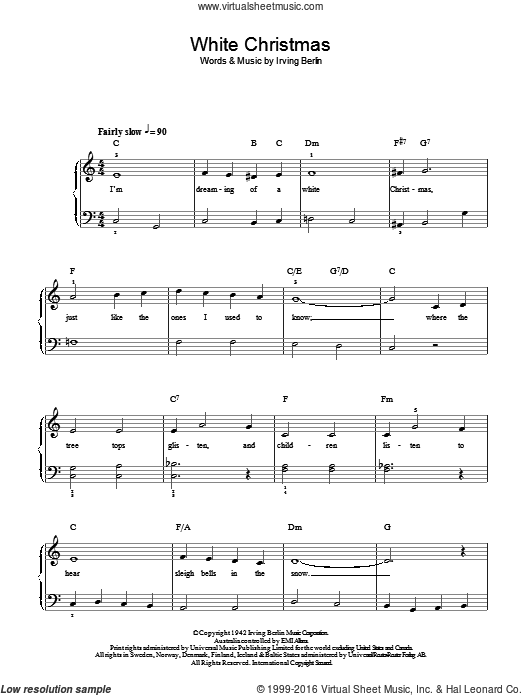 White Christmas sheet music for piano solo by Irving Berlin. Score ...