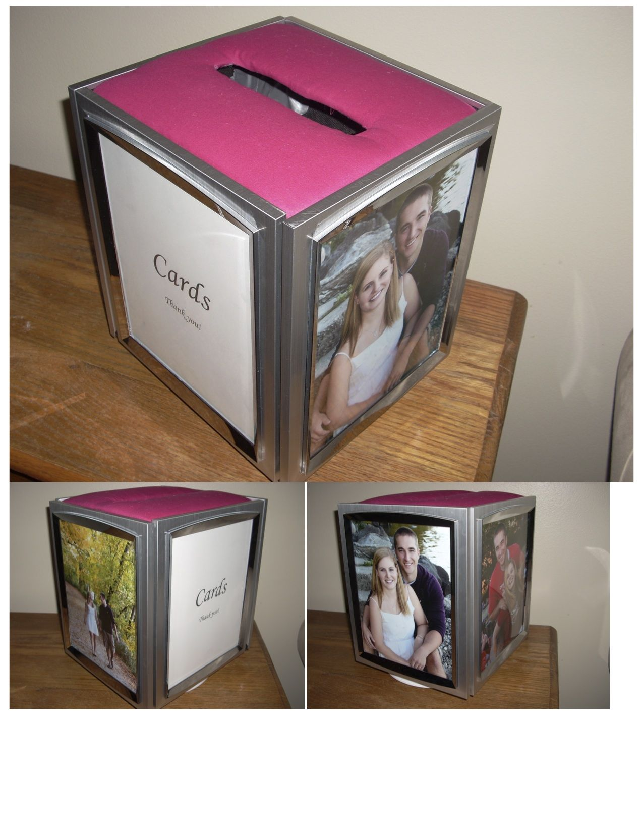 Our card box made out of picture frames that we can reuse