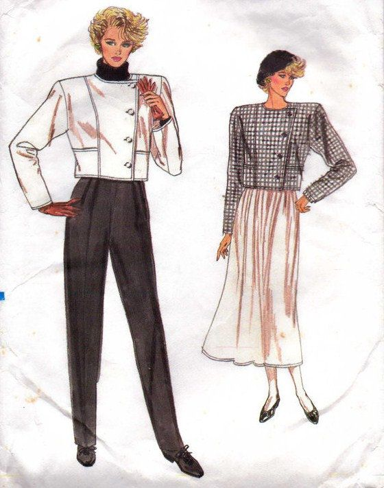 80s Very Easy Very Vogue Sewing Pattern 9725 Womens Above Waist ...