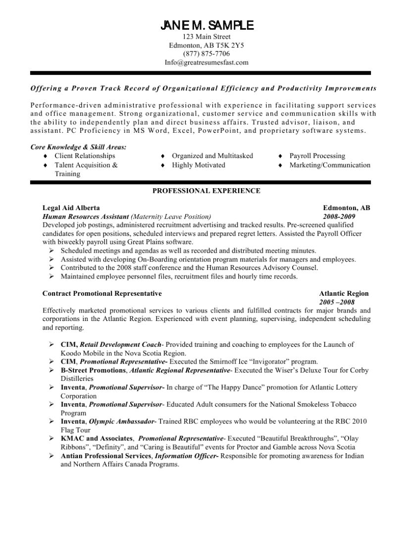 Human Resources Assistant Resume Resume Objective Statement Resume Objective Sample General Objective For Resume